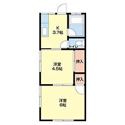紅葉荘 東[1階]の間取り