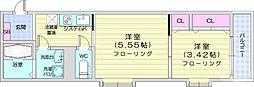 仙台市地下鉄東西線 連坊駅 徒歩7分の賃貸アパート 1階2Kの間取り