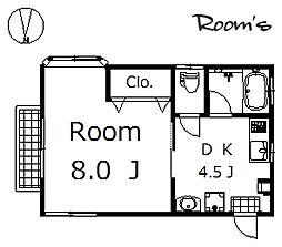 シンエーハイツB[202号室]の間取り