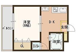 昌和鳳[4階]の間取り