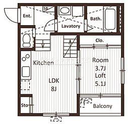 名古屋市営名港線 六番町駅 徒歩7分の賃貸アパート 1階1SLDKの間取り