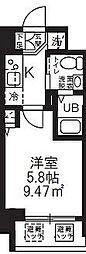 ハーモニーレジデンス新横浜 10階1Kの間取り