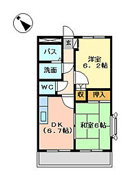 広島県福山市千代田町2丁目の賃貸アパートの間取り