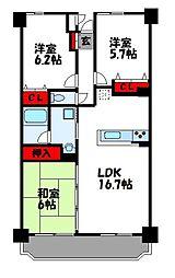 アネシス空港東五番館 6階3LDKの間取り