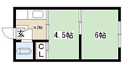 愛知県名古屋市昭和区小坂町3丁目の賃貸アパートの間取り