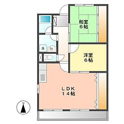 愛知県北名古屋市弥勒寺西3丁目の賃貸マンションの間取り