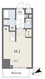 都営新宿線 本八幡駅 徒歩1分の賃貸マンション 4階ワンルームの間取り