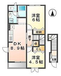愛知県あま市甚目寺須原の賃貸アパートの間取り