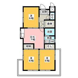 コーポKAMADA[3階]の間取り
