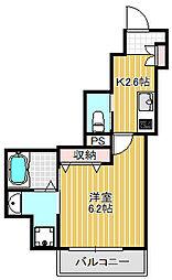 クレアハウス 1階1Kの間取り