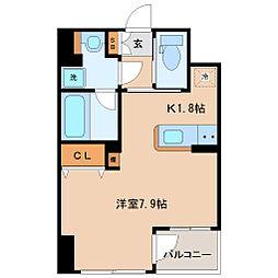 JR東北本線 仙台駅 徒歩8分の賃貸マンション 2階ワンルームの間取り