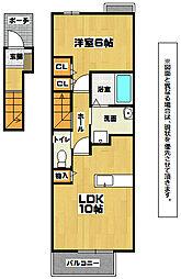 福岡県北九州市小倉南区津田1丁目の賃貸アパートの間取り