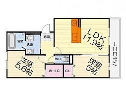 大阪府堺市西区原田の賃貸アパートの間取り