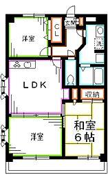 JR中央本線 吉祥寺駅 バス6分 医師会館下車 徒歩29分の賃貸マンション 6階3LDKの間取り