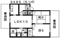プレジール樫山[A101号室号室]の間取り