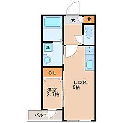 仙台市営南北線 仙台駅 徒歩14分の賃貸マンション 1階1LDKの間取り