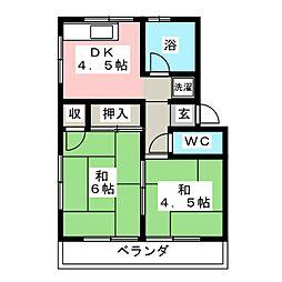 大胡ハイツNO2[2階]の間取り