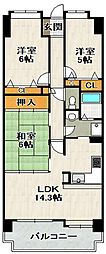 ラヴェニール宝塚中山台ドゥジェーム[7階]の間取り