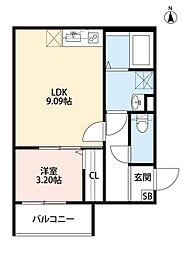 Osaka Metro千日前線 今里駅 徒歩13分の賃貸アパート 3階1LDKの間取り