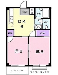 ニューエルデム押田B[0202号室]の間取り