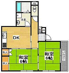 埼玉県越谷市大字恩間の賃貸アパートの間取り