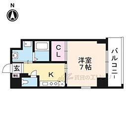 阪急京都本線 茨木市駅 徒歩2分の賃貸マンション 4階1Kの間取り