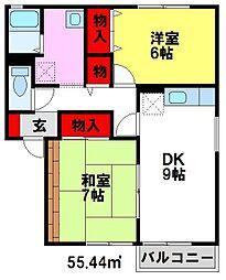 セジュール村田町[B102号室]の間取り