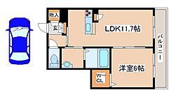 兵庫県三木市加佐1丁目の賃貸マンションの間取り