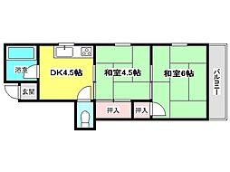 兵庫県神戸市垂水区星が丘1丁目の賃貸アパートの間取り