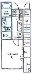 小田急江ノ島線 湘南台駅 徒歩15分の賃貸アパート 1階1Kの間取り