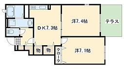 JR阪和線 和泉鳥取駅 徒歩21分の賃貸アパート 1階2DKの間取り