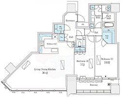 東急田園都市線 渋谷駅 徒歩9分の賃貸マンション 36階2LDKの間取り