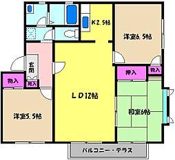 兵庫県芦屋市山手町の賃貸アパートの間取り