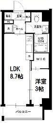 サニーハウス南堀江 2階1LDKの間取り