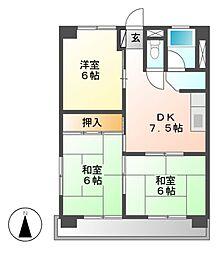 愛知県名古屋市名東区神里1丁目の賃貸マンションの間取り