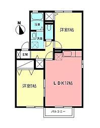 サニーハウスB[1階]の間取り