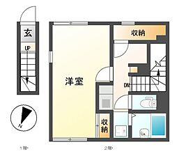 愛知県名古屋市南区松城町3丁目の賃貸アパートの間取り