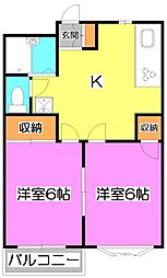 埼玉県富士見市榎町の賃貸アパートの間取り