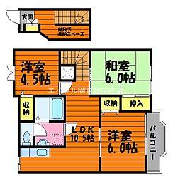 岡山県倉敷市三田の賃貸アパートの間取り