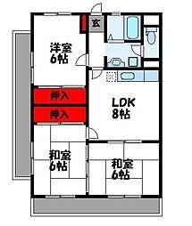JR鹿児島本線 福工大前駅 徒歩13分の賃貸マンション 2階3LDKの間取り