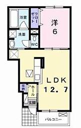 JR内房線 袖ヶ浦駅 徒歩16分の賃貸アパート 1階1LDKの間取り