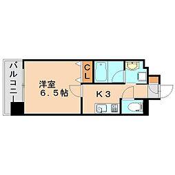 福岡市地下鉄箱崎線 箱崎宮前駅 徒歩5分の賃貸マンション 2階1Kの間取り
