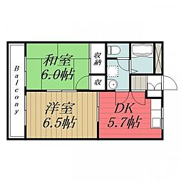 千葉県千葉市緑区おゆみ野南1丁目の賃貸アパートの間取り