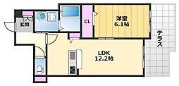 ファイブコート上野芝 1階1LDKの間取り