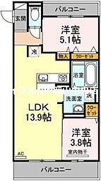 ルシエール 3階2LDKの間取り