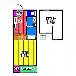 西鉄天神大牟田線 井尻駅 徒歩12分の賃貸アパート 1階1Kの間取り