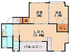 ピュアホワイト大野城[6階]の間取り