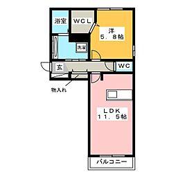 D-room御笠川[2階]の間取り
