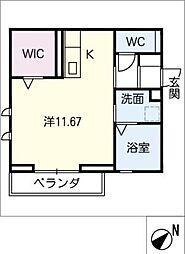 仮)D-room若松町 2階ワンルームの間取り