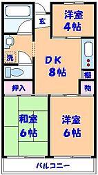 市川カトレアハイツ松塚[104号室]の間取り